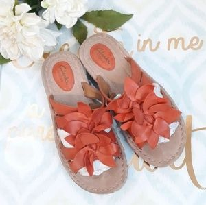 CLARK'S ARTISANS BURNT ORANGE FLOWER SANDALS